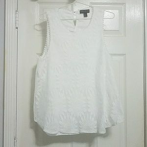 White Forever21 sunflower lace blouse